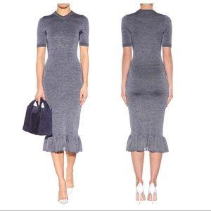 Victoria Beckham Navy Melange Midi Dress